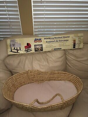 Baby Moses Basket with NEW Jolly Jumper Rocking Basket Stand