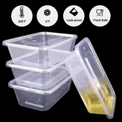 100-200X Clear Microwave Food Storage Containers with Lids- Take Away Containers