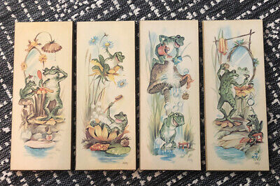 "Set of 4 Vintage COBY Frog Prints Wall Plaques 70's Bathroom Decor 15"" L x 6"" W"