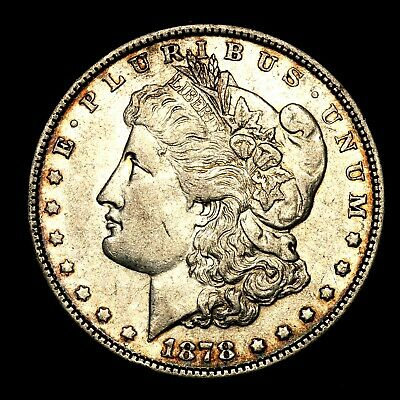 1878 P 7/8TF ~**ABOUT UNC AU**~ Silver Morgan Dollar Rare US Old Coin! #C61