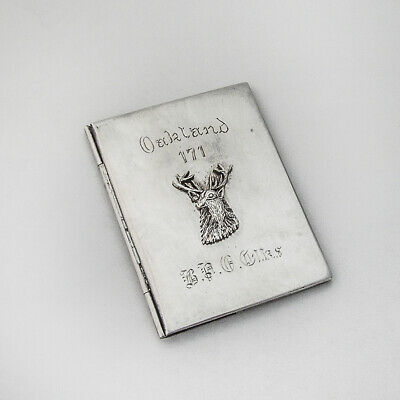 BPOE Calling Card Case Applied Elk Head Sterling Silver Mono