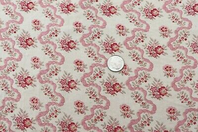 """Antique c1910-1920 French Cotton Doll Scale Pink Floral & Ribbon Fabric~41""""X21"""""""