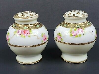 Antique/ Vintage Hand Painted Moriage Salt & Pepper Shakers Pink Roses Gold Trim