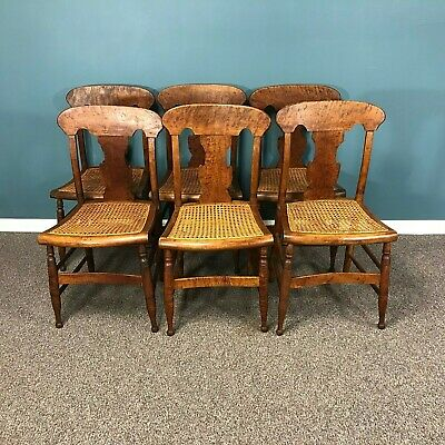 Set of 6 19th Century Tiger Maple New England Dining Chairs