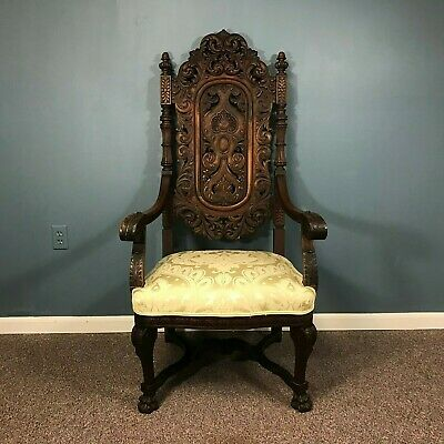 Fine 1800's Victorian Carved Walnut Throne Arm Chair