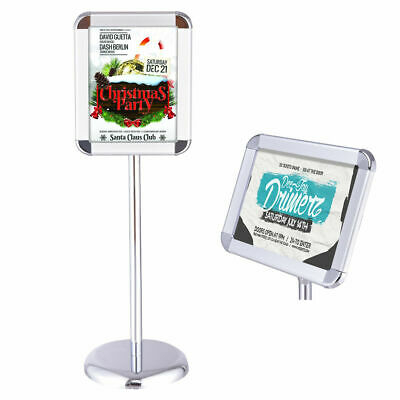 "Adjustable Pedestal Poster Stand Aluminum Snap Open Frame For 11"" x 17"" Graphics"