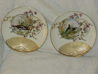 "Pair Veritas Vincit Hand Painted American Game Bird 8""  Plates - Lovely!"
