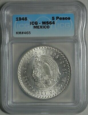 1948 Mexico 5 Pesos Silver Choice Uncirculated ICG Mint State MS64 KM 465
