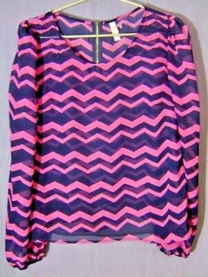 XHILARATION L Large Sheer Navy Blue Pink Chevron Zipper Back Long Sleeve Blouse
