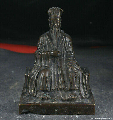 5.5'' China Antique Statue Old Brass Bronze Statue kong ming politician W1W2