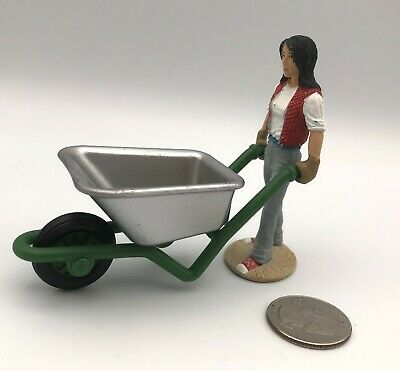 Schleich WOMAN Girl w/WHEELBARROW Figure 2009 Retired