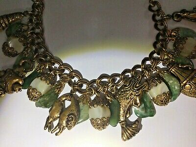Old Chinese nephrite mother of pearl balamut bronze charm bracelet