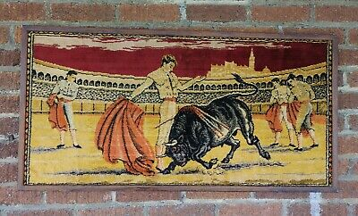 "Vintage Spanish Bull Fighting Matador Wall Art Rug Tapestry 39""x20"" mid century"