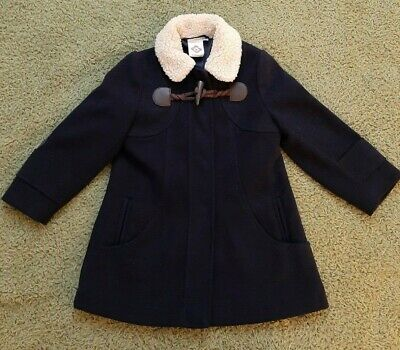 John Lewis Girls Size 2 Years 24 Months Black Collared Pea Coat Jacket
