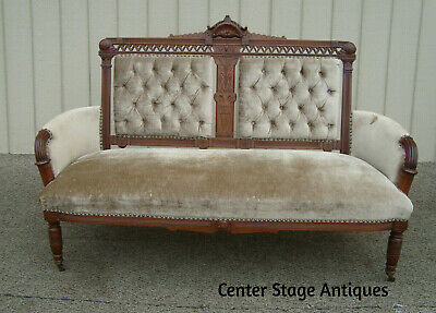 60588  Antique Eastlake Victorian Loveseat Sofa