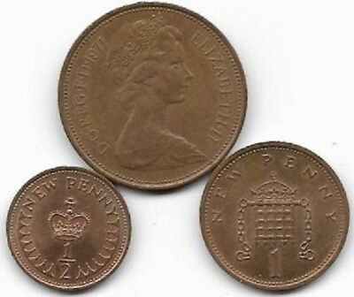 1971 decimal halfpenny, penny , twopence. Cheap with freepost.  (40)