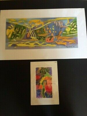TED ROBERTS Mixed Media ART WORK PICTURES Out of Darkness & Garden at Midday