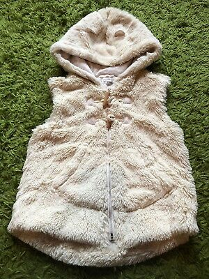 Girls Next Cream Beige Fluffy Sleeveless Fully Lined Hoodie Gilet 4-5 Years