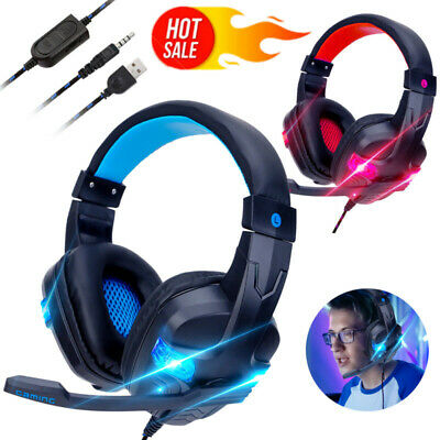 3.5mm Gaming Headset MIC LED Headphones for PS4 Xbox One Nintendo Switch PC UK