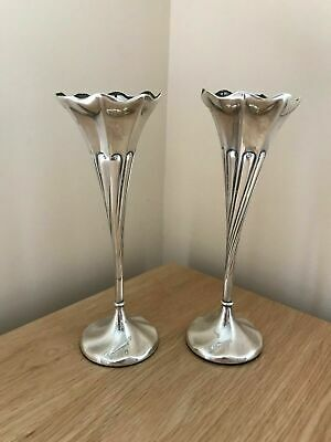 A Beautiful Pair of Antique 1907 Edwardian Silver & Gilt Flower Stem Posy Vases