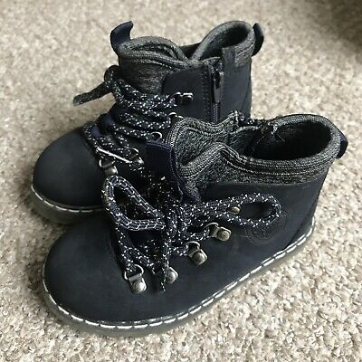 Zara Baby Boy Mountain Hiking Walking Boots Shoes Navy Blue Infant 7 23