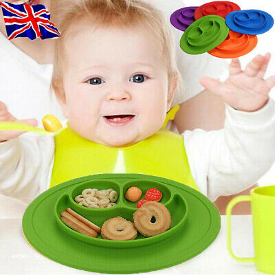 Cute Silicone Happy Baby Kids Suction Table Food Tray Placemat Plates Bowls Mat