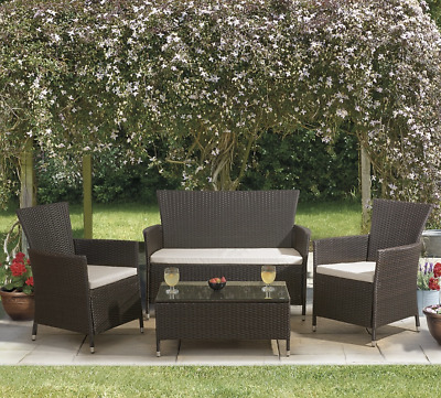 Luxury Ratten Garden Furniture 4 Seater Table Chairs Coffee Table Outdoor Brown