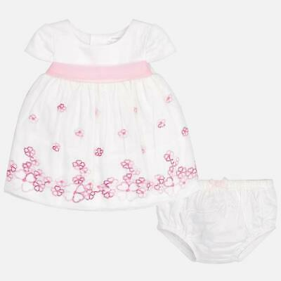 Mayoral Newborn Baby Girl White Cotton Embroidered  Dress & Pants - 4-6 Months