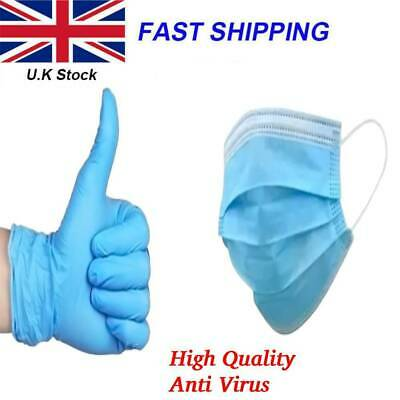 Surgical Face Masks 3Ply Disposable Nitrile Gloves Face Cover Protection Medical