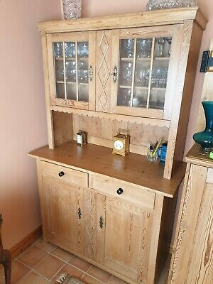 Vintage Rustic Pine Dresser Kitchen Cabinet Glazed Doors, Country Farmhouse Chic