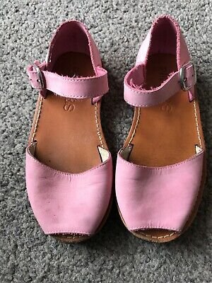 M&s Girls Leather Pink Sandals Size 11