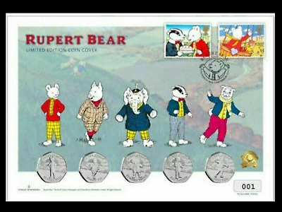 100 Years Of Rupert Bear BU 50p Stamp Coin Cover 5 Coin Set NO: 680 Of 750