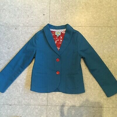 Uttam Girls blue Blazer with red buttons and red flower lining Age 5-6