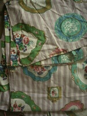 Beautiful vintage very old rare Sanderson 'plate' design curtains antique fabric