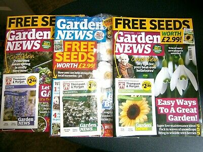 Garden News Magazines February, March & April 2020  With Seeds  (new)