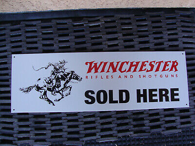 Winchester RIFLES AND SHOTGUNS SOLD HERE METAL DEALER Advertising Sign