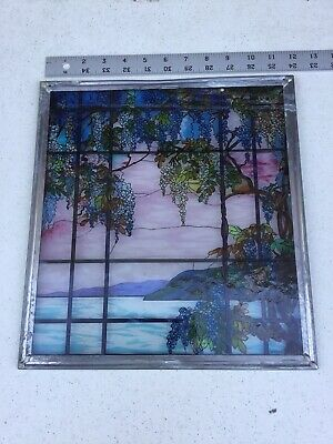 MMA Stained Glass Tiffany Reproduction Oyster Bay Window Hanging Glass Art Used