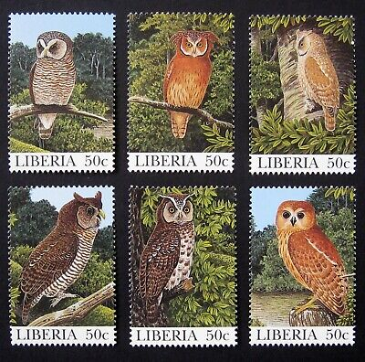 LIBERIA 1997 Birds / Owls. Complete set of 6 stamps. MNH
