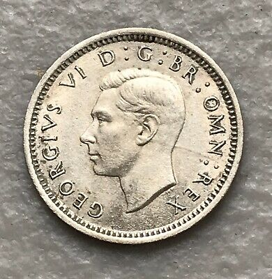 1943 Great Britain Silver 3 Pence AU ~ George VI ~ Scarcer Year ~ KM# 848
