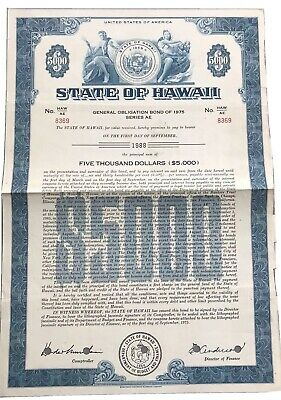 State of Hawaii $5k Bond Stock Certificate 1975 ~ Cancelled VF
