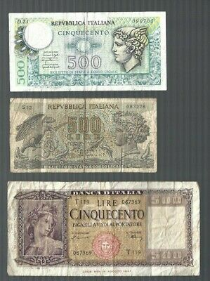 Italy 500 Lire x 3 pcs collections & lots
