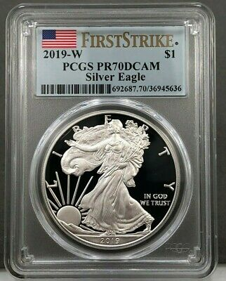 2019-W $1 American Silver Eagle PROOF PCGS PR70 DCAM First Strike Flag