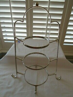 Vintage Antique  Silver Plated Graduated  3 Tiered Teaset Cake Stand  Lot A