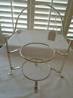 Vintage Antique  Silver Plated  2 Tiered Teaset Cake Stand  Lot M