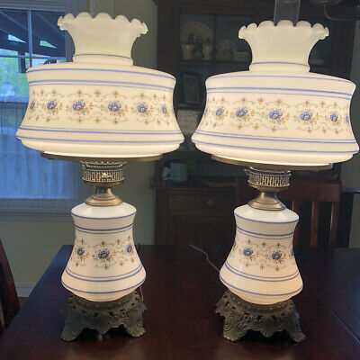PAIR of Quoizel Abigail Adams Blue Floral Gone With The Wind Lamps