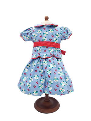 American Girl Doll  Retired Meet Emily Blue Cherry Print Dress Outfit NEW