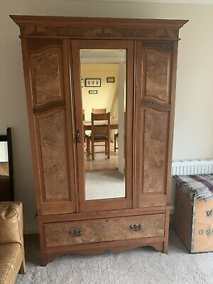 Antique Vintage Wardrobe With Mirror Door & Drawer
