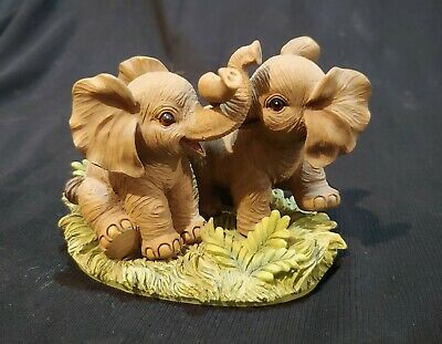 Endangered Young 'Uns AFRICAN ELEPHANTS AT PLAY resin figurine Hamilton