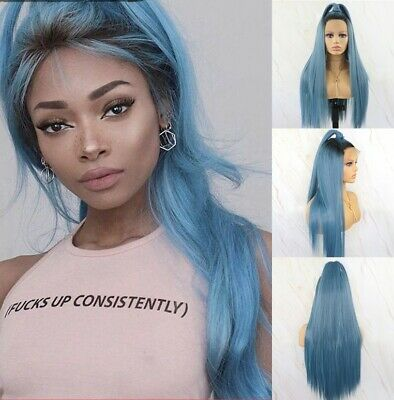 24inch Synthetic fiber Lace front wigs Natural Straight Fashion 1B/Teal