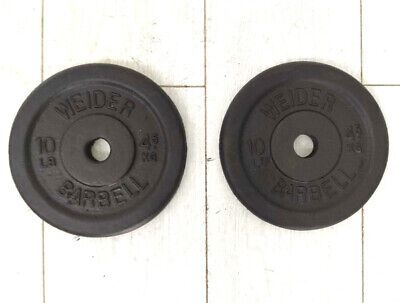 Cast Iron Plates Weider Weights 2 X 4.5 KG / 10 LBS Total 9KG Total Plastes